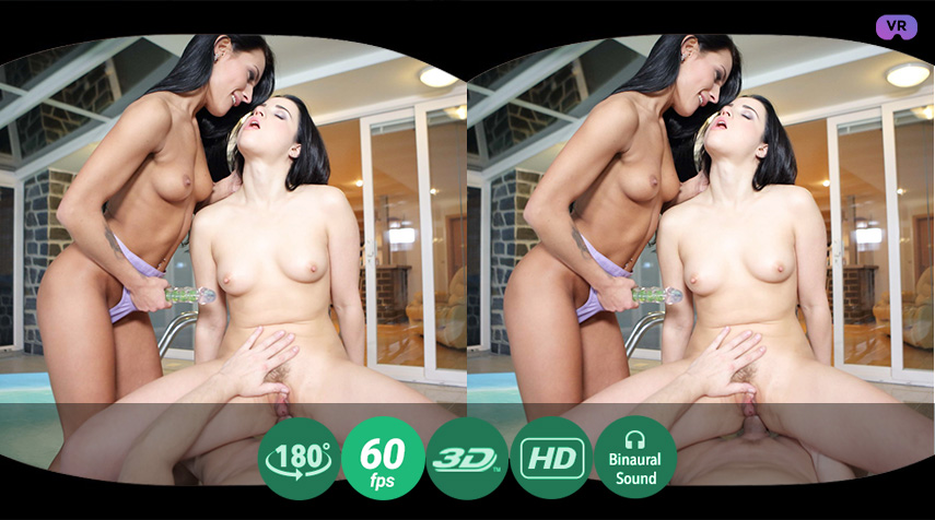 Two bisexual babes fuck using a guy instead of bed VR Porn