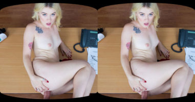 Tattooed Blonde at VR Casting