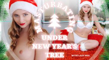 Masturbating under New Year's tree