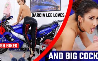 Brunette Hottie Loves Posh Bikes and Big Cocks