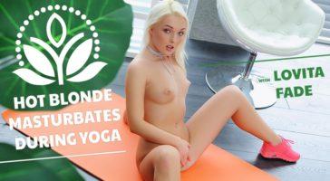 Hot Blonde Masturbates During Yoga