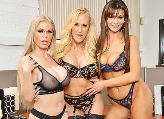"Becky Bandini, Brandi Love, Casca Akashova in ""The Office 3"""