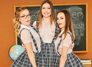 "Kamryn Jayde, Katie Kush, Aften Opal in ""Classroom 5"""